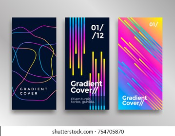 Minimal design poster or cover with vibrant gradients. Colorful brigth backgrounds. Vector template