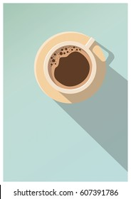 Minimal Design Poster . Cup of Coffee on a light Background . Top View.