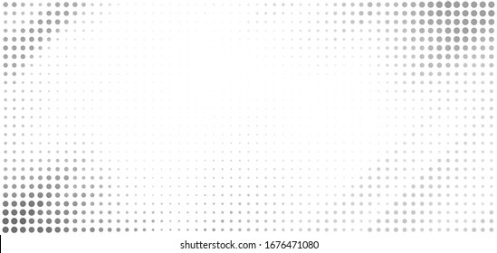 Minimal dotted grayscale background with halftone effect. Simple vector graphic pattern with grey dots on a white