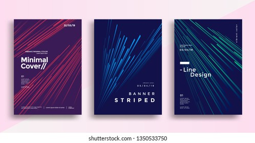 Minimal dynamic covers design with color simple line. Gradient striped background for poster, flyer. Vector graphics