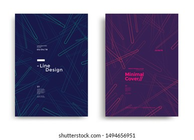 Minimal dynamic covers design with color simple line. Geometric rounded shapes background for poster, flyer. Vector graphics