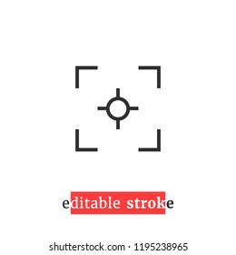 minimal editable stroke capture icon. flat lineart style trend modern view finder logotype graphic design element isolated on white background. concept of viewfinder badge with change line thickness