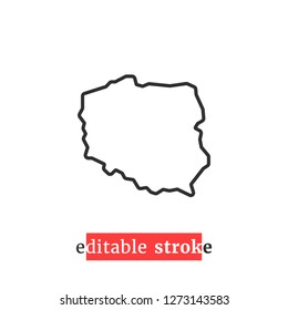 minimal editable stroke poland map icon. concept of part of global world and polish country border. flat change line thickness style modern logotype graphic design isolated on white background