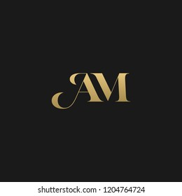 Minimal elegant AM black and gold color initial based letter icon logo