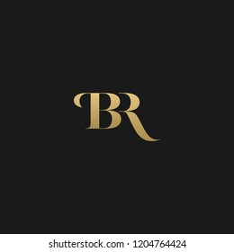 Minimal elegant BR black and gold color initial based letter icon logo
