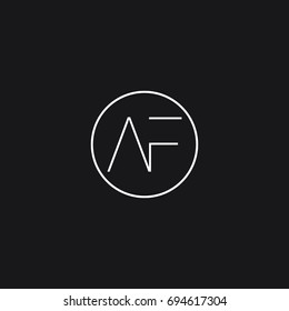 Minimal elegant clean connected circular shaped sports brand black and white color AF FA A F initial based letter icon logo.