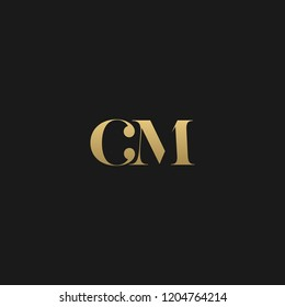 Minimal elegant CM black and gold color initial based letter icon logo
