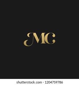 Minimal elegant MC black and gold color initial based letter icon logo