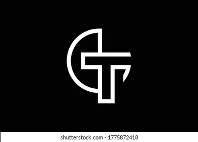 Minimal elegant monogram art logo. Outstanding professional trendy awesome artistic GT TG initial based Alphabet icon logo. Premium Business logo. White color on black background
