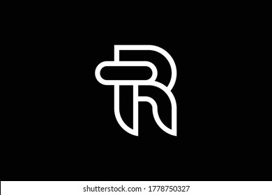 Minimal elegant monogram art logo. Outstanding professional trendy awesome artistic RT TR initial based Alphabet icon logo. Premium Business logo. White color on black background