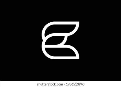 Minimal elegant monogram art logo. Outstanding professional trendy awesome artistic C CC E EE CE EC initial based Alphabet icon logo. Premium Business logo. White color on black background