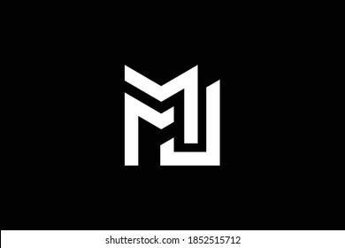 Minimal elegant monogram art logo. Outstanding professional trendy awesome artistic MJ JM initial based Alphabet icon logo. Premium Business logo. White color on black background