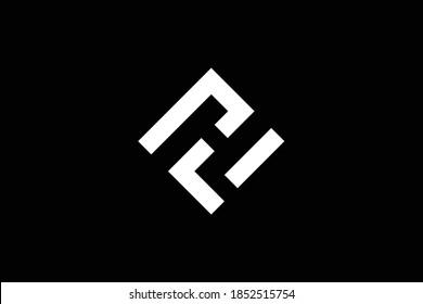 Minimal elegant monogram art logo. Outstanding professional trendy awesome artistic HL LH initial based Alphabet icon logo. Premium Business logo. White color on black background
