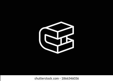 Minimal elegant monogram art logo. Outstanding professional trendy awesome artistic CH HC initial based Alphabet icon logo. Premium Business logo. White color on black background