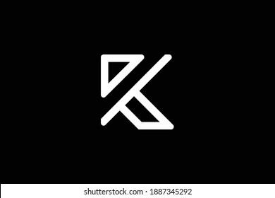 Minimal elegant monogram art logo. Outstanding professional trendy awesome artistic K RK KR initial based Alphabet icon logo. Premium Business logo. White color on black background