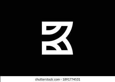 Minimal elegant monogram art logo. Outstanding professional trendy awesome artistic B BK KB initial based Alphabet icon logo. Premium Business logo. White color on black background.