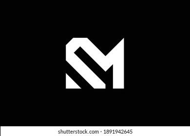 Minimal elegant monogram art logo. Outstanding professional trendy awesome artistic RM MR initial based Alphabet icon logo. Premium Business logo. White color on black background.