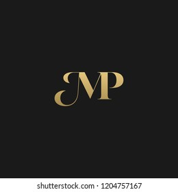 Minimal elegant MP black and gold color initial based letter icon logo