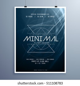 minimal elegant music flyer template in blue color with abstract shiny lights