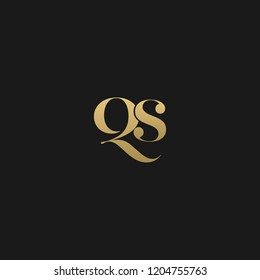 Minimal elegant QS black and gold color initial based letter icon logo