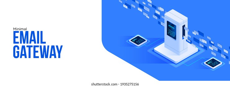 Minimal email gateway concept Emails passing through Email checking Scanning email. Can use for web banner, infographics, hero images. Flat isometric vector illustration isolated on white background.