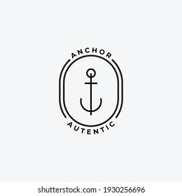 Minimal Emblem of Anchor Ship Line Art Logo, Vector Illustration Design of Across the Ocean