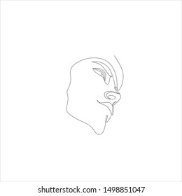 Minimal face logo. Line illustration of woman. Minimalist print. Fashion line art. beauty logo. beutiful woman vector