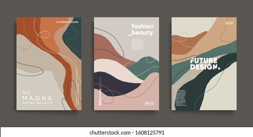Minimal fashion cover templates. Wavy shapes and lines composition. Modern Invitation cards.