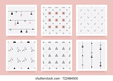 Minimal feminine Christmas seamless pattern collection in rose gold color hue