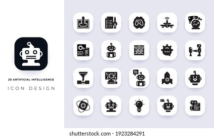 Minimal flat artificial intelligence icon pack. In this pack incorporate with twenty different artificial intelligence icon.