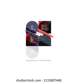 Minimal flat clean abstract option step infographic design element, geometric shapes - round squares, circles and lines layout with sample text, for business or web presentation, app or interface