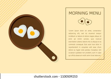 Minimal flat design morning menu with couple egg in heart shape on the pan  on yellow background Vector illustration.