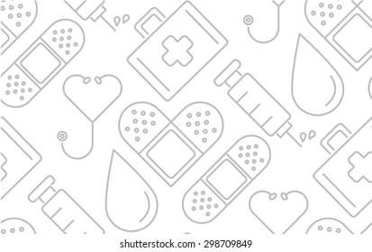 minimal flat line medical and healthy conceptual pictogram seamless pattern background vector