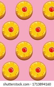 Minimal flat upside down cake icon/symbol on pastel pink background, simple retro feeling dessert seamless pattern