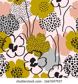 Minimal floral seamless pattern in trendy style. Surface design with abstract flowers, minimal shapes, doodles on background. Botany vector repeated artwork for textile, fabric, wallpaper design