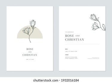 Minimal floral wedding invitation card template design, vintage magnolia line art ink drawing on white