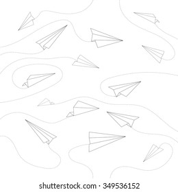 Minimal Flying Airplane Line Art Design Background