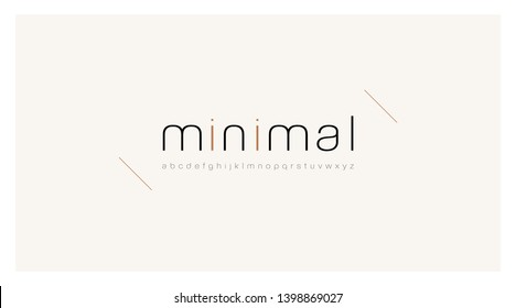 Minimal font creative modern alphabet. Typography thin line regular lowercase. minimalist style fonts set. vector illustration