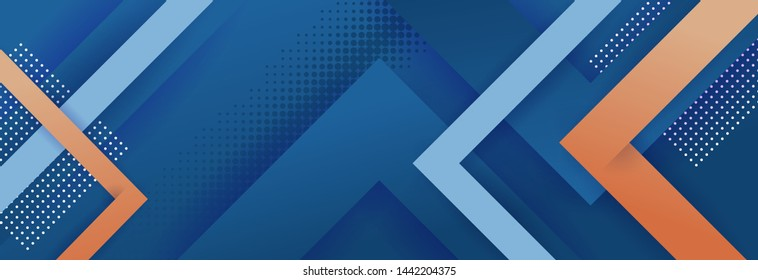 Minimal geometric background. Dynamic blue shapes composition with red lines.