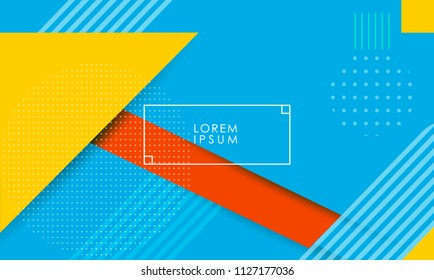 Minimal geometric background with dynamic shapes composition. Presentation template abstract background.