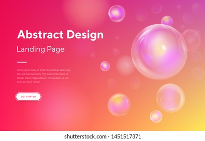 Minimal geometric background. Dynamic shapes composition. Bubble soap Abstract Motion Landing Page Background. Futuristic Digital Minimal Orb Gradient Pattern Template