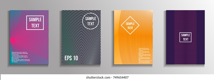 The minimal geometric coverage. A set of modern abstract oblong objects from vector abstract lines. Future template for the design of the background of albums, business brochures, banner, poster.