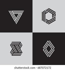Minimal geometric logotypes. Trendy futuristic symbols. Eps10 vector.