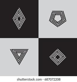 Minimal geometric logotypes. Trendy futuristic symbols. Rhombus, pentagon, square, triangle. Eps10 vector.