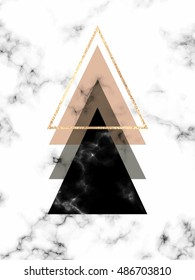 Minimal geometric marble background with gold triangles in Scandinavian style.