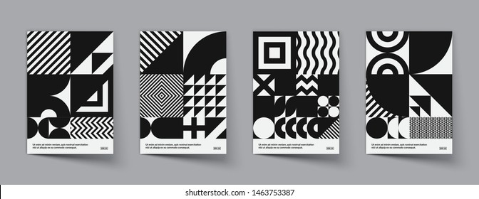 Minimal geometric posters set. Trendy design. Monochrome patterns. Eps10 vector.