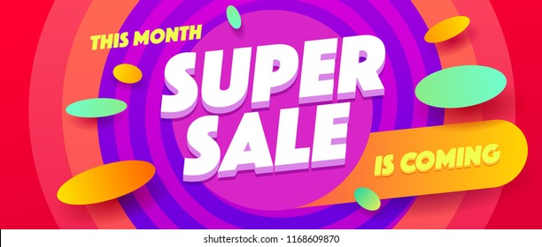 Minimal geometric super sale background. Dynamic banner shapes composition design.