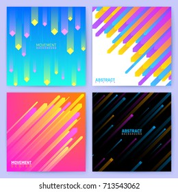 Minimal geometric vector backdrops. Trendy posters with abstract color shapes and lines. Banner woth trendy dynamic color pattern illustration