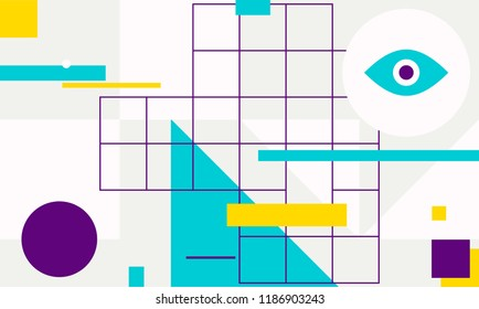 Minimal geometric web banner design. Vector template with shapes elements. Bauhaus, modern, hipster style