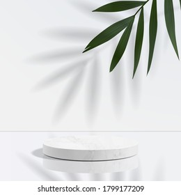 Minimal geometric, white marble podium in white background and leaves. product presentation, mockup, scene to show cosmetic product, Podium, stage, pedestal or platform. simple clean design, 3d vector
